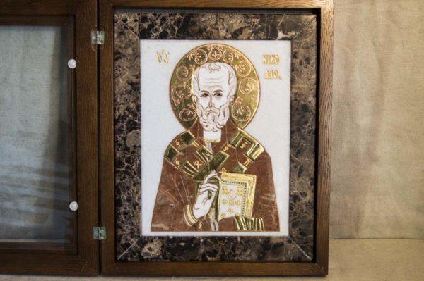 Икона Николая Чудотворца (Угодника) инд.№ 15 из мрамора, камня, изображение, фото 3