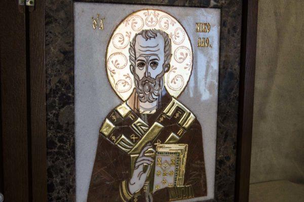 Икона Николая Чудотворца (Угодника) инд.№ 15 из мрамора, камня, изображение, фото 5