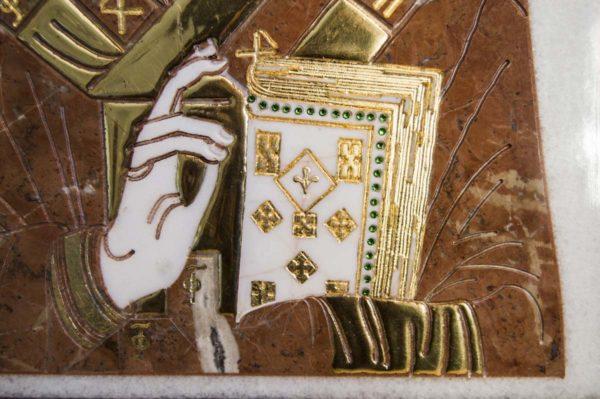 Икона Николая Чудотворца (Угодника) инд.№ 15 из мрамора, камня, изображение, фото 7