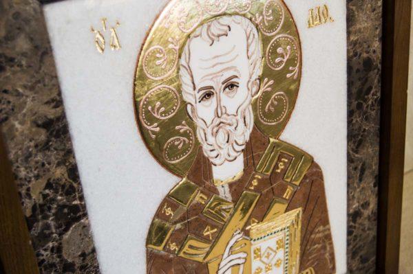 Икона Николая Чудотворца (Угодника) инд.№ 15 из мрамора, камня, изображение, фото 6