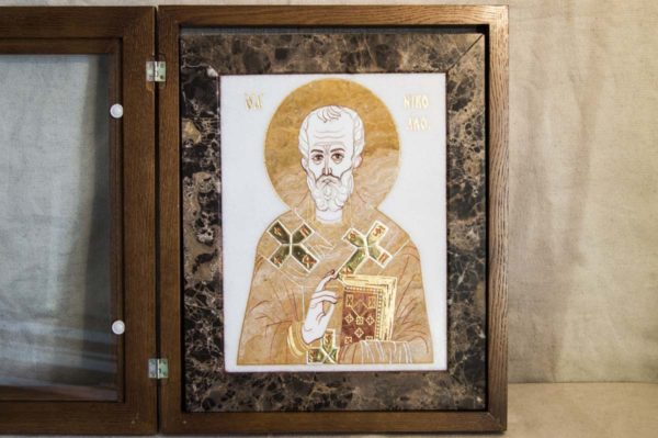 Икона Николая Чудотворца (Угодника) инд.№ 16 из мрамора, камня, изображение, фото 4