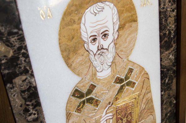 Икона Николая Чудотворца (Угодника) инд.№ 16 из мрамора, камня, изображение, фото 8