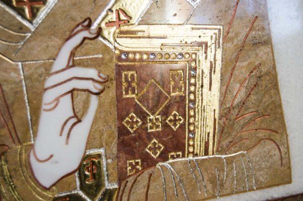 Икона Николая Чудотворца (Угодника) инд.№ 16 из мрамора, камня, изображение, фото 11