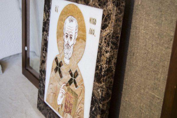 Икона Николая Чудотворца (Угодника) инд.№ 16 из мрамора, камня, изображение, фото 6
