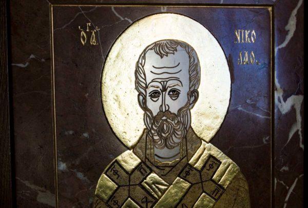 Икона Николая Чудотворца (Угодника) инд.№ 17 из мрамора, камня, изображение, фото 3