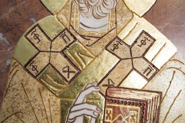 Икона Николая Чудотворца (Угодника) инд.№ 17 из мрамора, камня, изображение, фото 4