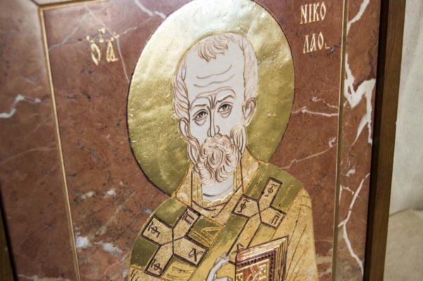Икона Николая Чудотворца (Угодника) инд.№ 17 из мрамора, камня, изображение, фото 2