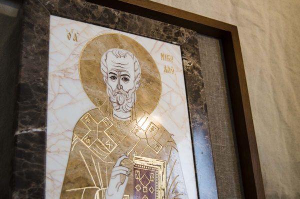 Икона Николая Чудотворца (Угодника) инд.№ 18 из мрамора, камня, изображение, фото 4