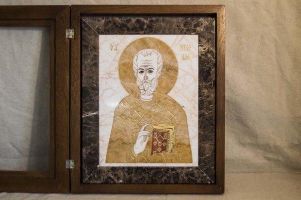 Икона Николая Чудотворца (Угодника) инд.№ 18 из мрамора, камня, изображение, фото 5