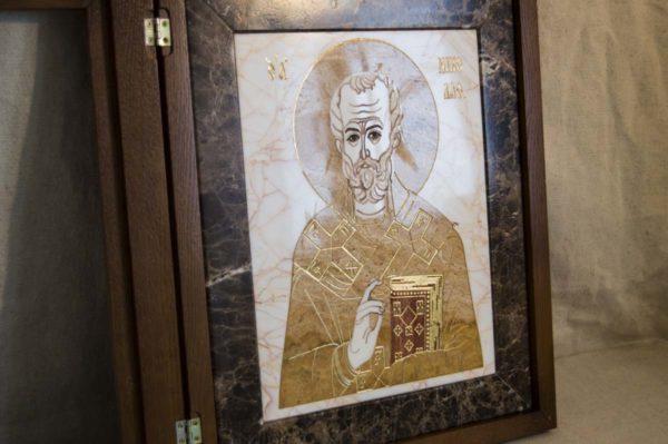 Икона Николая Чудотворца (Угодника) инд.№ 18 из мрамора, камня, изображение, фото 3
