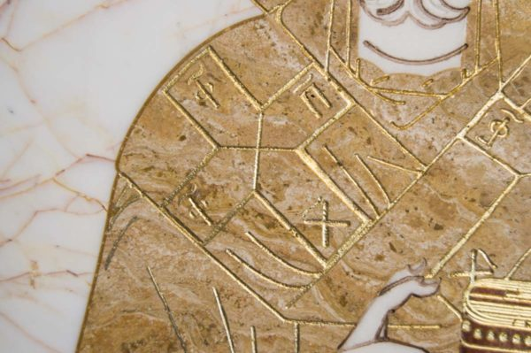 Икона Николая Чудотворца (Угодника) инд.№ 18 из мрамора, камня, изображение, фото 2