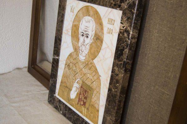Икона Николая Чудотворца (Угодника) инд.№ 18 из мрамора, камня, изображение, фото 9