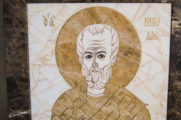Икона Николая Чудотворца (Угодника) инд.№ 18 из мрамора, камня, изображение, фото 8