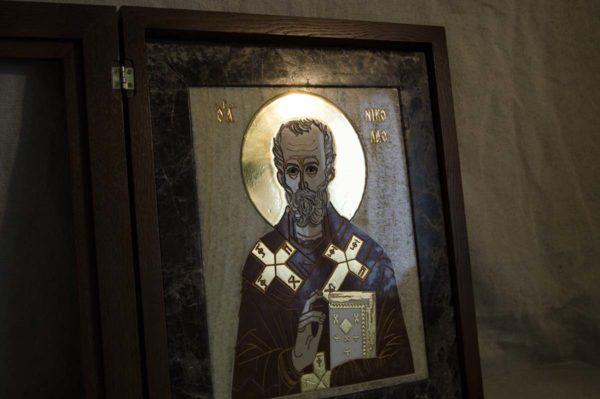 Икона Николая Чудотворца (Угодника) инд.№ 19 из мрамора, камня, изображение, фото 10