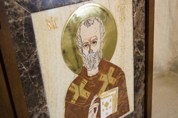 Икона Николая Чудотворца (Угодника) инд.№ 19 из мрамора, камня, изображение, фото 8