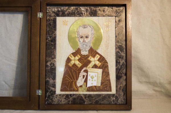 Икона Николая Чудотворца (Угодника) инд.№ 19 из мрамора, камня, изображение, фото 11