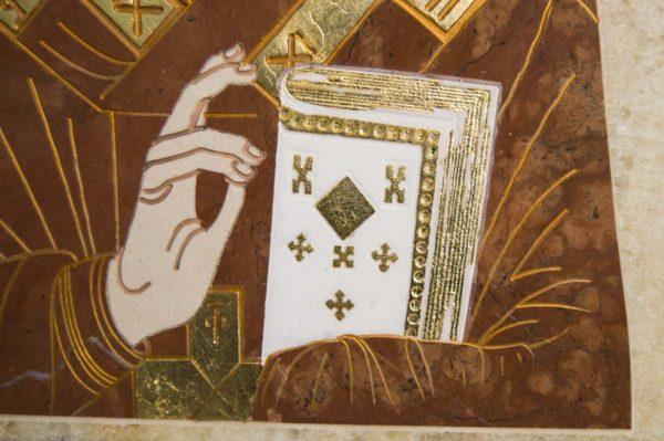 Икона Николая Чудотворца (Угодника) инд.№ 19 из мрамора, камня, изображение, фото 2