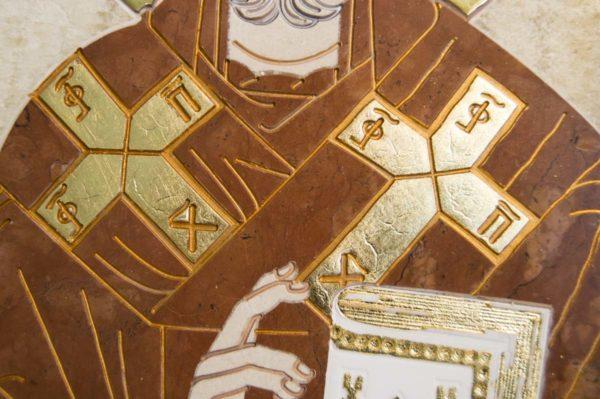 Икона Николая Чудотворца (Угодника) инд.№ 19 из мрамора, камня, изображение, фото 1