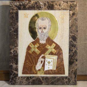 Икона Николая Чудотворца (Угодника) инд.№ 19 из мрамора, камня, изображение, фото 9