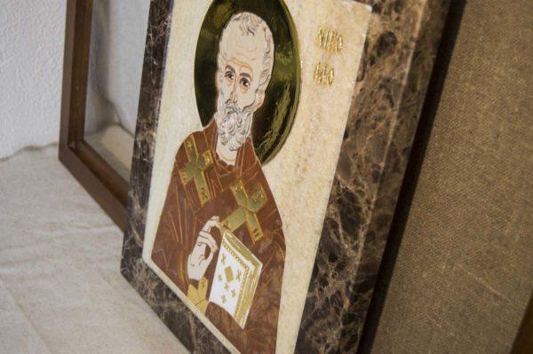 Икона Николая Чудотворца (Угодника) инд.№ 19 из мрамора, камня, изображение, фото 3