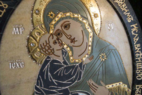 Икона Жировицкой (Жировичской) Божией Матери № п-27 из мрамора, камня, изображение, фото 5