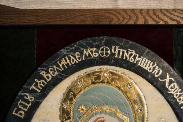 Икона Жировицкой (Жировичской) Божией Матери № п-27 из мрамора, камня, изображение, фото 7