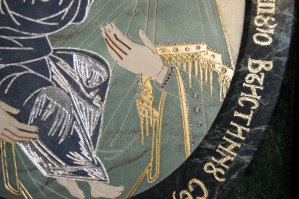 Икона Жировицкой (Жировичской) Божией Матери № п-27 из мрамора, камня, изображение, фото 4