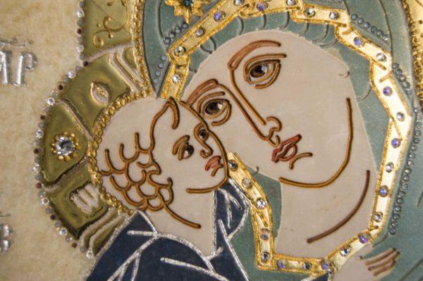 Икона Жировицкой (Жировичской) Божией Матери № п-27 из мрамора, камня, изображение, фото 11