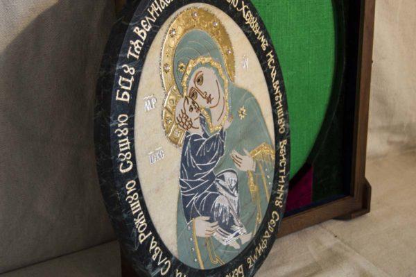 Икона Жировицкой (Жировичской) Божией Матери № п-27 из мрамора, камня, изображение, фото 3