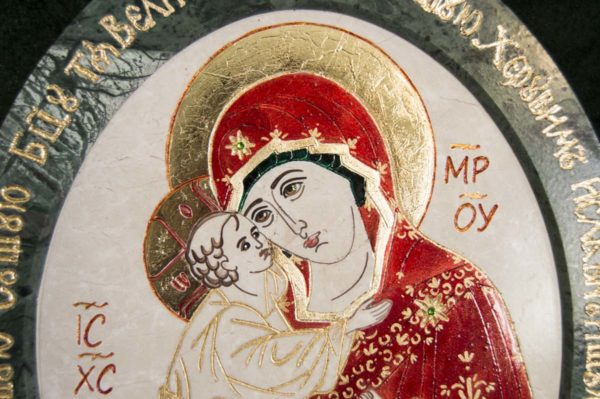 Икона Жировицкой (Жировичской) Божией Матери № 53 из мрамора, камня, изображение, фото 1