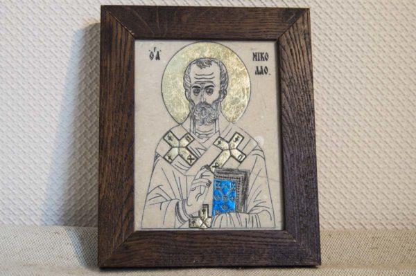 Икона Николая Чудотворца (Угодника) № 18 из мрамора, камня, изображение, фото 1