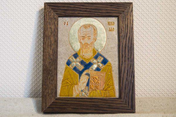 Икона Николая Чудотворца (Угодника) № 19 из мрамора, камня, изображение, фото 1