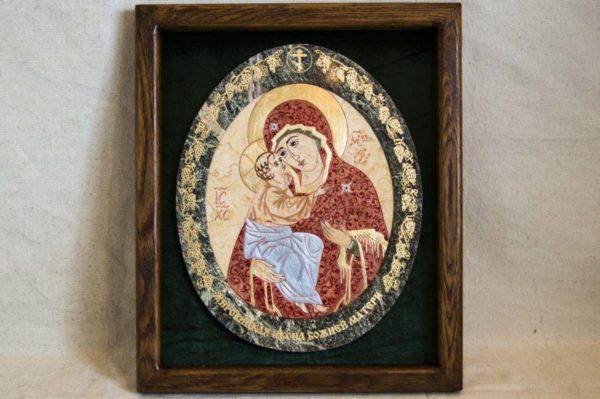 Икона Жировицкой (Жировичской) Божией Матери № 57 из мрамора, камня, изображение, фото 3