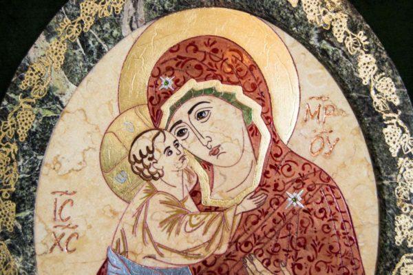 Икона Жировицкой (Жировичской) Божией Матери № 57 из мрамора, камня, изображение, фото 4