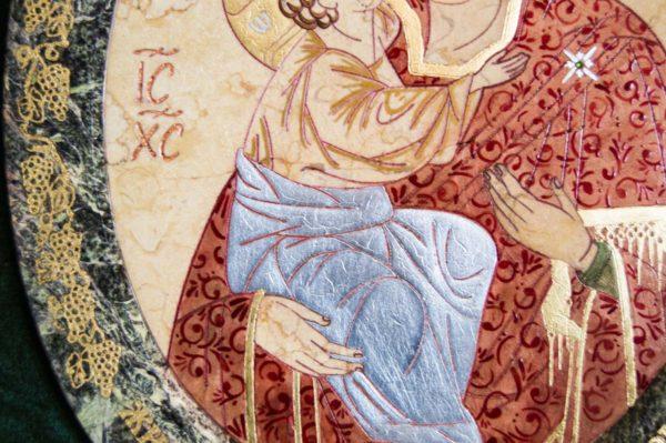 Икона Жировицкой (Жировичской) Божией Матери № 57 из мрамора, камня, изображение, фото 1