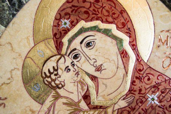 Икона Жировицкой (Жировичской) Божией Матери № 57 из мрамора, камня, изображение, фото 7