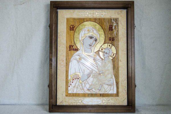 Икона Стокгольмской Божией Матери № 1 из мрамора, камня, изображение, фото 4
