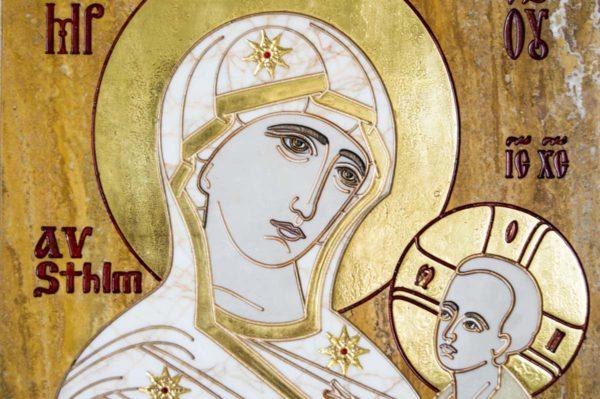 Икона Стокгольмской Божией Матери № 1 из мрамора, камня, изображение, фото 7