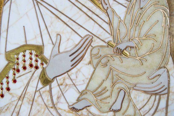 Икона Стокгольмской Божией Матери № 1 из мрамора, камня, изображение, фото 3