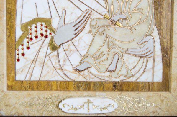 Икона Стокгольмской Божией Матери № 1 из мрамора, камня, изображение, фото 6