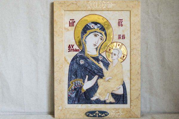 Икона Стокгольмской Божией Матери № 2 из мрамора, камня, изображение, фото 7