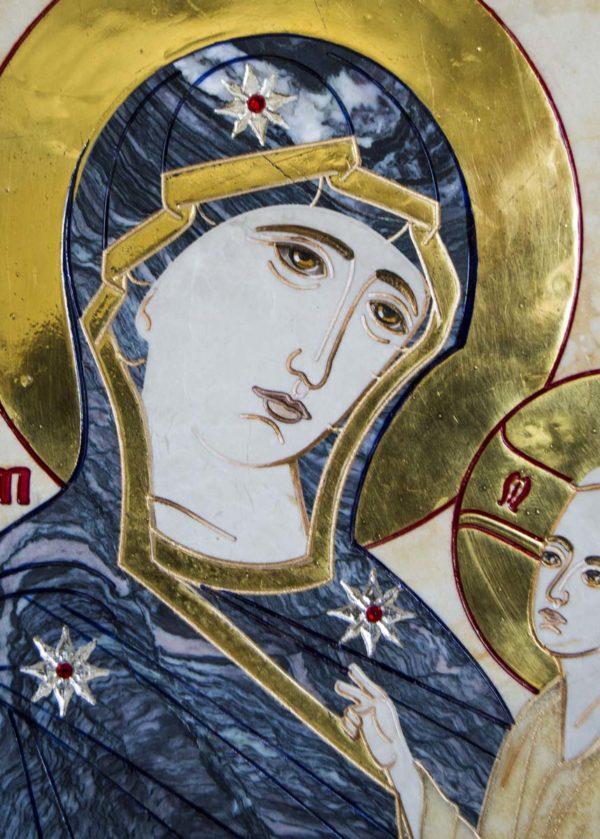 Икона Стокгольмской Божией Матери № 2 из мрамора, камня, изображение, фото 5