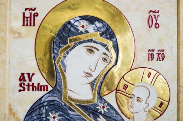 Икона Стокгольмской Божией Матери № 2 из мрамора, камня, изображение, фото 3