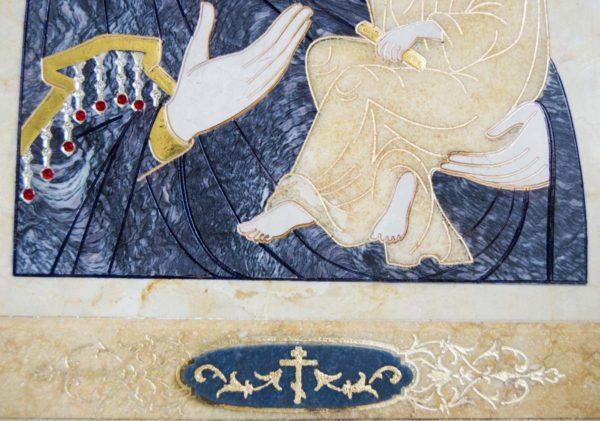 Икона Стокгольмской Божией Матери № 2 из мрамора, камня, изображение, фото 4