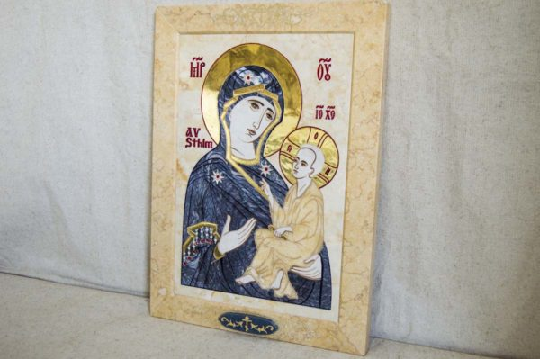 Икона Стокгольмской Божией Матери № 2 из мрамора, камня, изображение, фото 1