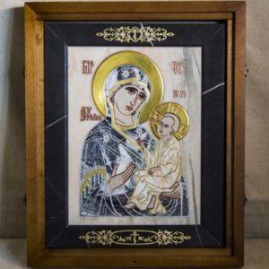 Икона Стокгольмской Божией Матери № 3 из мрамора, камня, изображение, фото 2