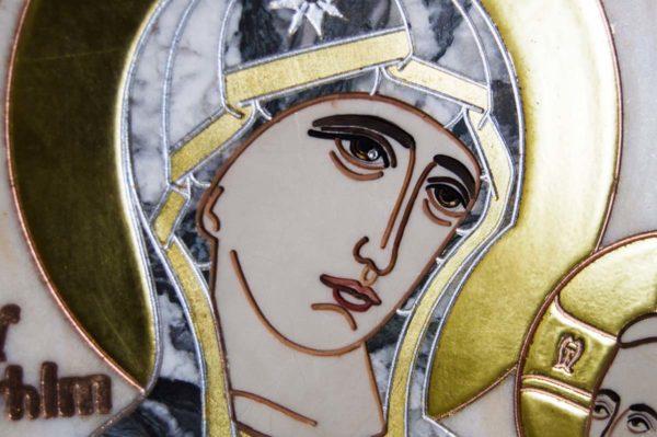 Икона Стокгольмской Божией Матери № 3 из мрамора, камня, изображение, фото 6