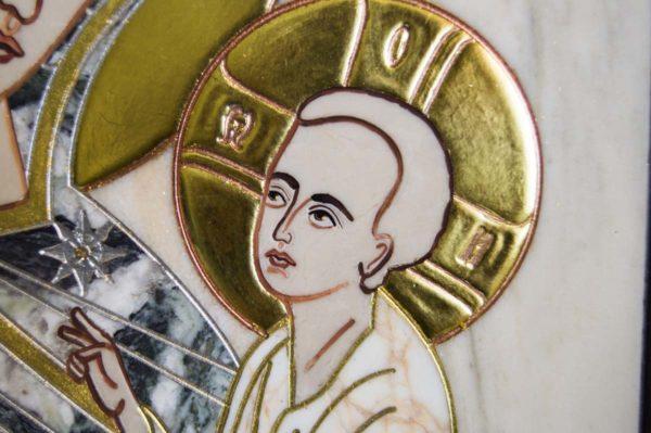 Икона Стокгольмской Божией Матери № 3 из мрамора, камня, изображение, фото 5