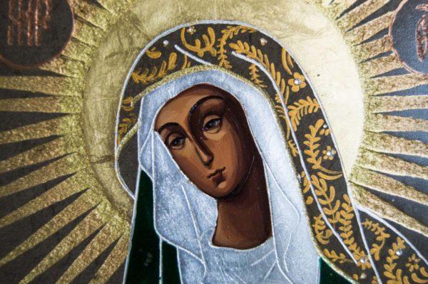 Икона Остробрамской Божией Матери № 02 из мрамора, камня, изображение, фото 3