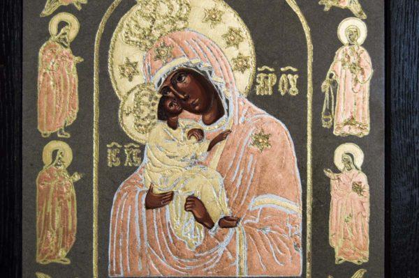Икона Почаевской Божией Матери № 1 из мрамора, камня, изображение, фото 3